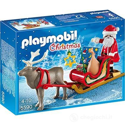 Slitta con Babbo Natale e renna (5590)