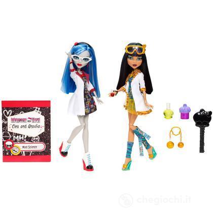 Set 2 bambole Ghoulia e Cleo compagne di laboratorio (BBC81)