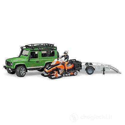 Land Rover Defender Station Wagon con rimorchio, motoslitta e figura (02594)