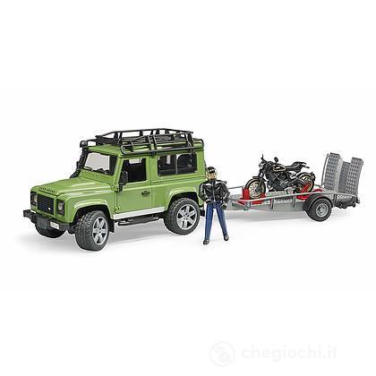 Land Rover Defender con rimorchio, Moto Scrambler Ducati Cafe e personaggio (02598)