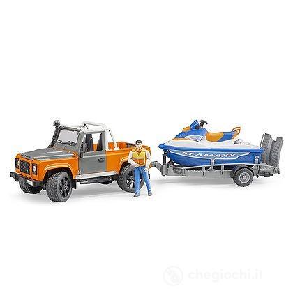 Land Rover Defender con rimorchio moto d'acuqa e personaggio (02599)