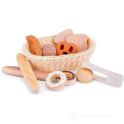 Cestino pane con accessori legno (10605)