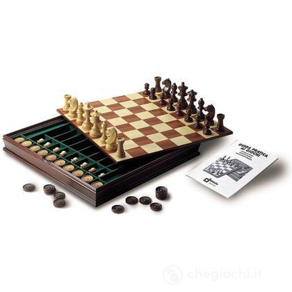 Completo dama scacchi intarsiato