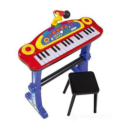 Pianola con sgabello e microfono (106838629)