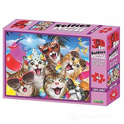 Puzzle 3D H. Robinson: Cat Selfie Luau 48 pezzi