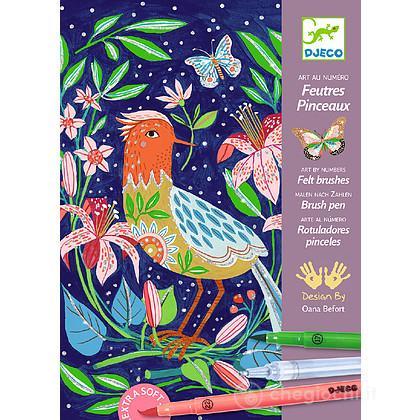 In the garden disegna e colora con i pennarelli DJ08649