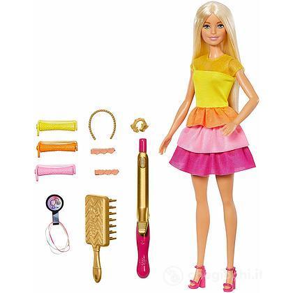 Barbie Ricci Perfetti, Bambola Bionda con Capelli Lunghi da Pettinare con Pettine, Bigodini e Accessori (GBK24)