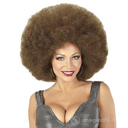 Parrucca afro castana