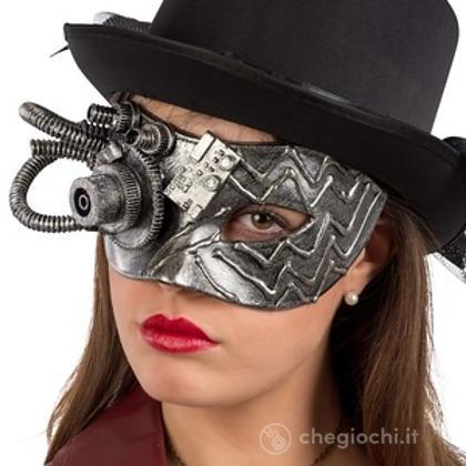Maschera steampunk argento