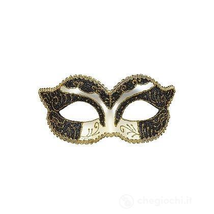 Maschera Duchessa Decorata con Glitter Nero e Oro