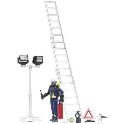 Pompiere con accessori, scala e lampade