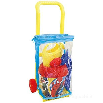 Trolley con secchiello, paletta, rastrello, formine e annaffiatoio Spider-Man diametro 18 cm (787)