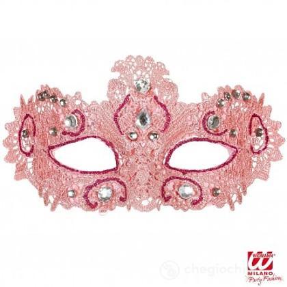 Maschera Nobile in Pizzo Rosa Decorata con Glitter e Gemme