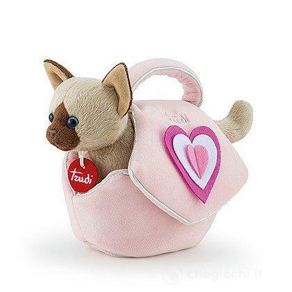 Gattino borsetta rosa cuori XS (29716)