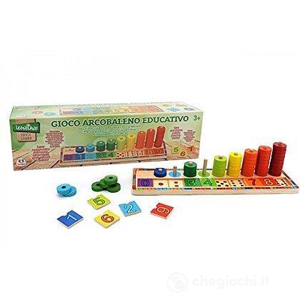 Gioco Legno Arcobaleno educativo Numeri e Colori