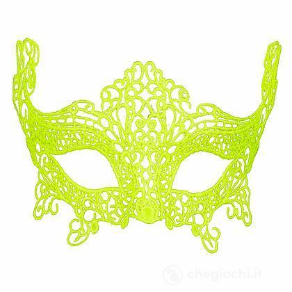 Maschera in Pizzo Fluorescente Giallo