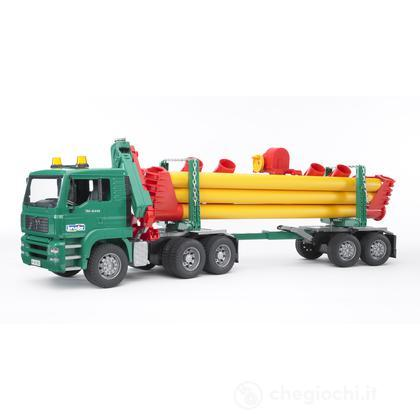 MAN TGA camion trasporto tubi con gru (2747)