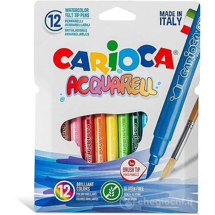 12 Pennarelli Acquerellabili Carioca Acquarell Con Punta A Pennello