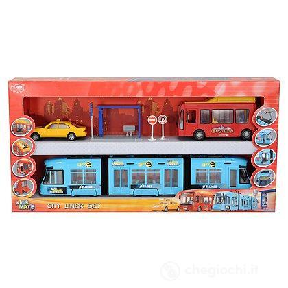 Dickie Kids Mate Playset city con tram e mini-bus