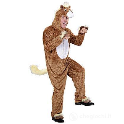 Costume Adulto cavallo bruno peluche M