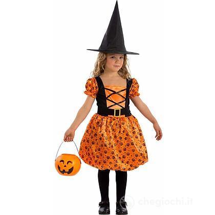 Costume Strega arancione taglia V 6-7 anni