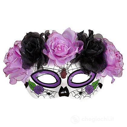 Maschera Dia De Los Muertos viola nera