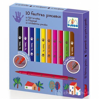 10 pennarelli doppia punta felt brushes - classic DJ08800