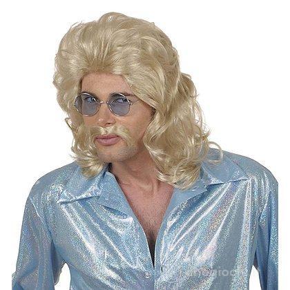 Parrucca e baffi anni 70 bionda