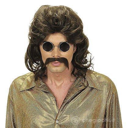 Parrucca e baffi anni 70 castana