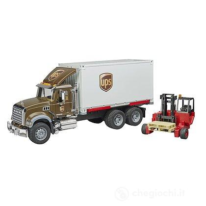 Camion Mack granite UPS portacontainer con muletto (02828)