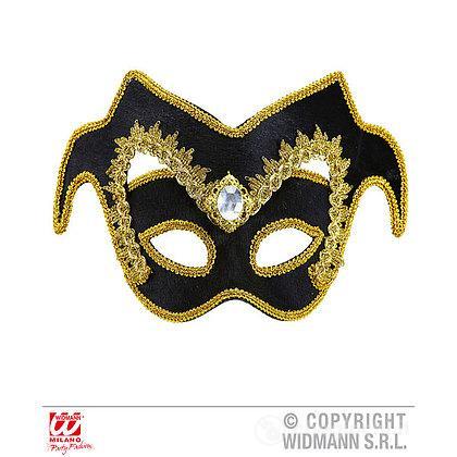 Maschera Nobile Veneziano con Gemma e Finitura Oro
