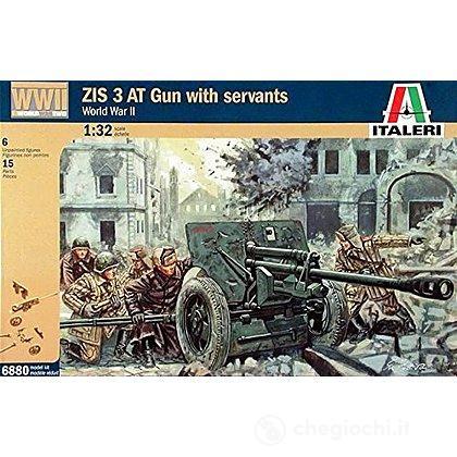 WWII Cannone Zis3 con soldati russi