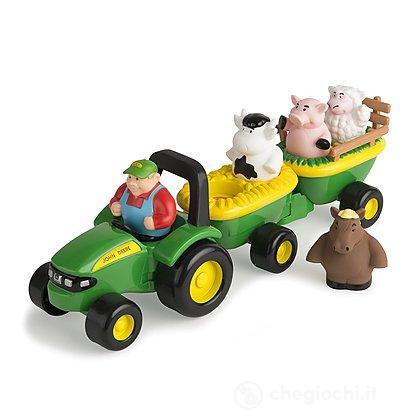 Trattore John Deere + rimorchio e animali. Carro con i suoni degli animali (LC34908)