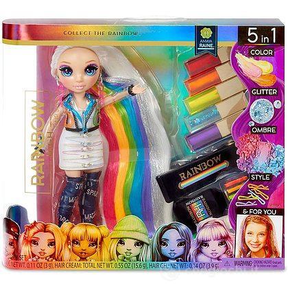 Rainbow High Hair Studio - Bambola Amaya Raine capelli extra lunghi e colori lavabili 5 in 1