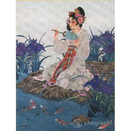 Geisha sullo stagno - Carta giapponese