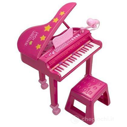 Pianoforte a coda con sgabello rosa