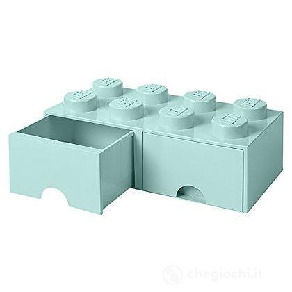 Contenitore Lego Brick 8 Cassetto Azzurro